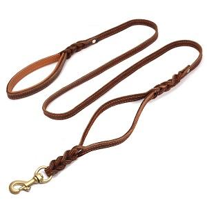 FOCUSPET Heavy Duty Leather Dog Leash