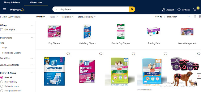 purchase dog diapers from walmart